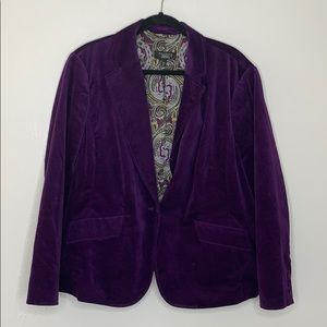 Talbots purple  velvet blazer jacket petite 22W